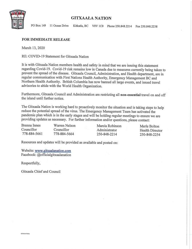 RE: COVID-19 Statement Gitxaala Nation