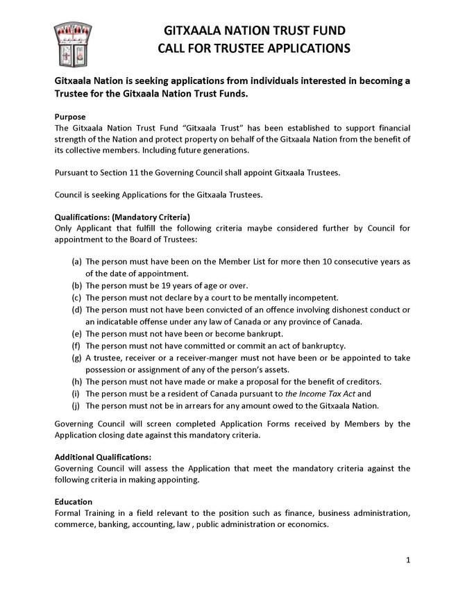Gitxaala Nation Call for Trustee + Trustee Application