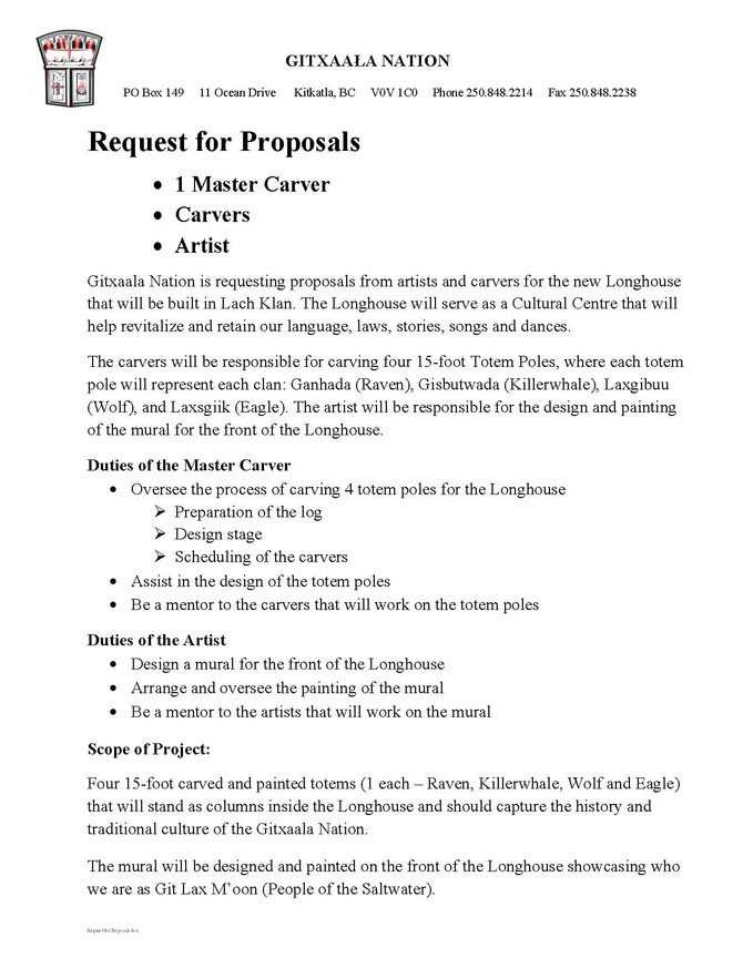 Lach Klan Longhouse: Request for Proposals