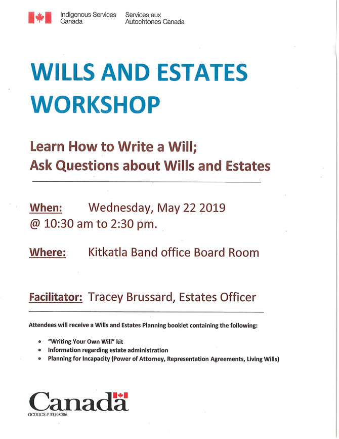 Wills and Estates Workshop in Kitkatla