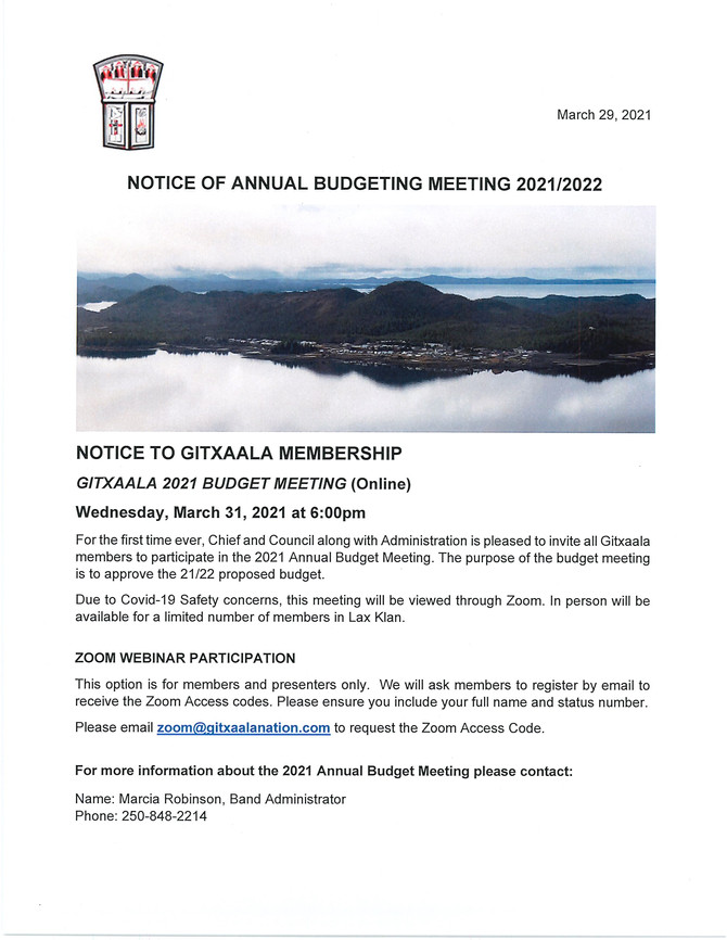 Notice of Annual Budgeting Meeting 2021/2022
