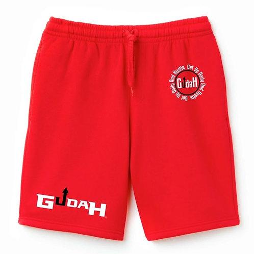 GUDAH~Ruby Red Terry Fleece Shorts