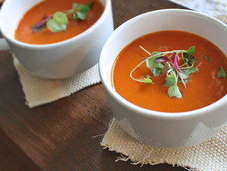 Roasted Tomato Soup with Ginger and Mint
