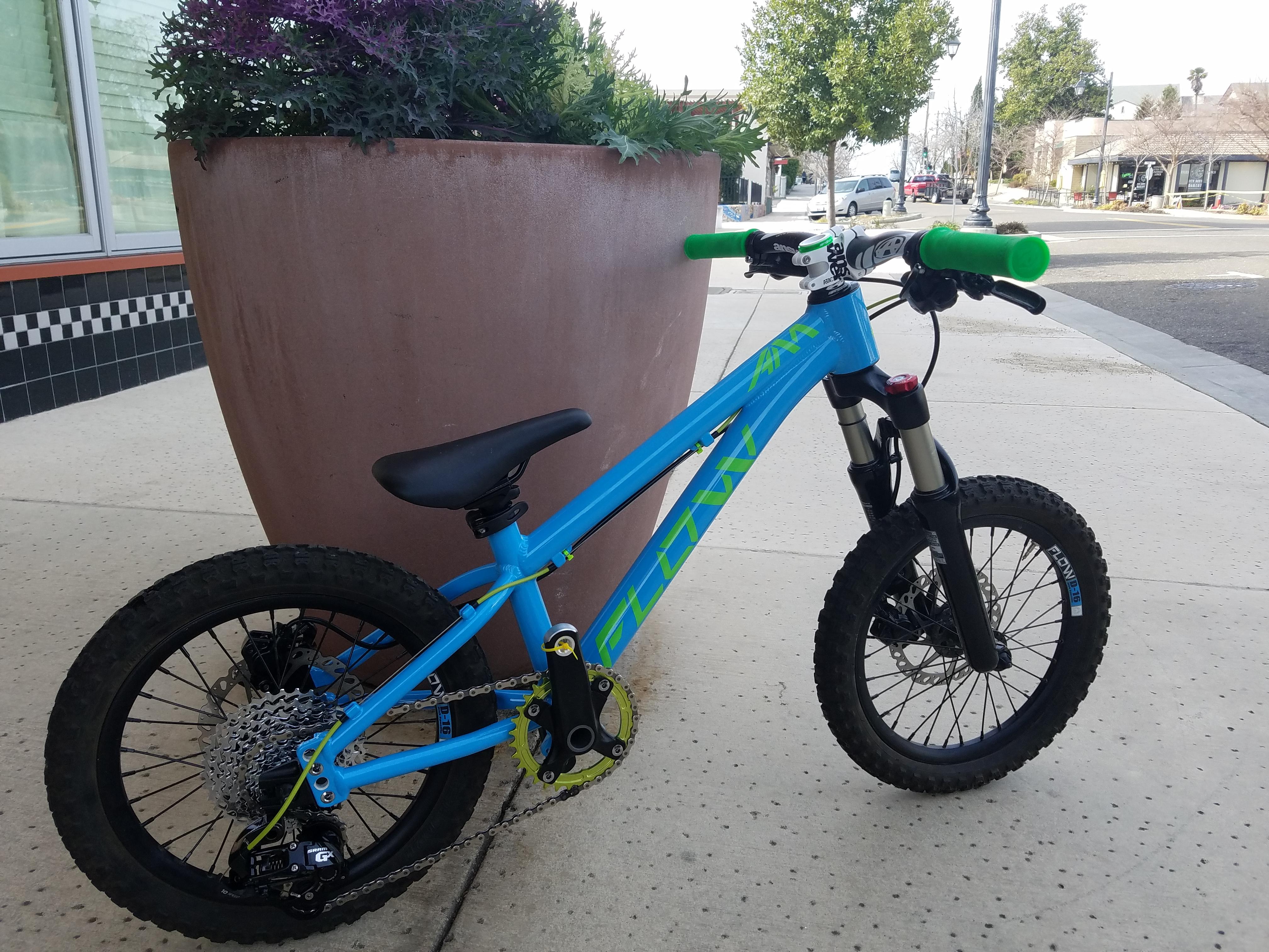 flow kids mountain bike blue green 16