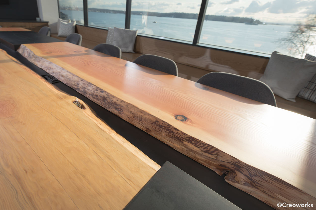 Custom conference table, raw edge