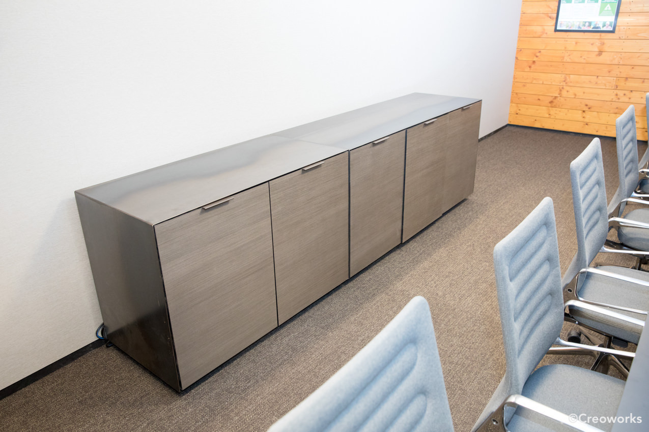 Custom wood and steel credenza