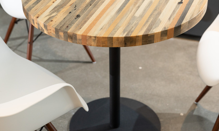 Beetle kill pine table & steel table base