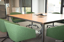 Steel and wood conference table
