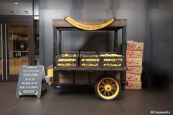 Custom banana stand with wheels
