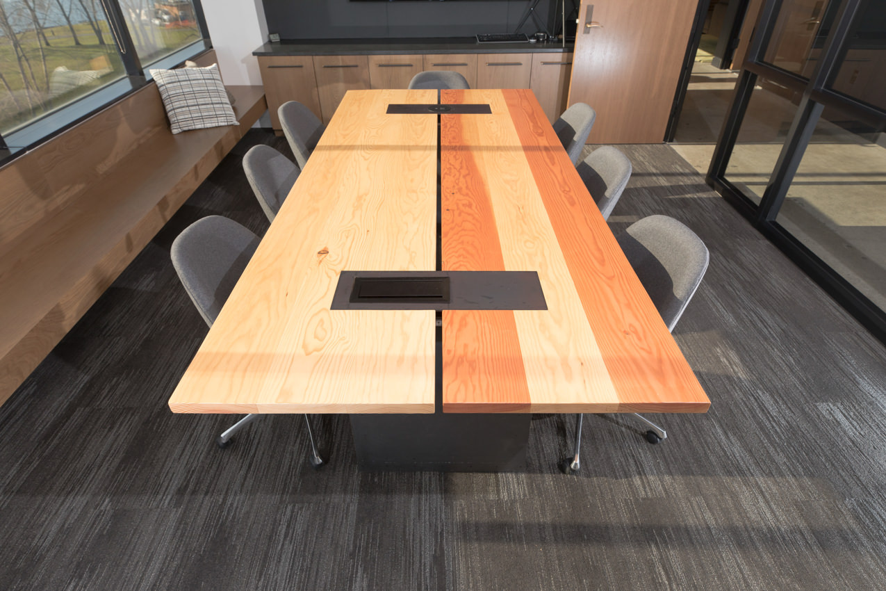 Custom conference table & raw edge