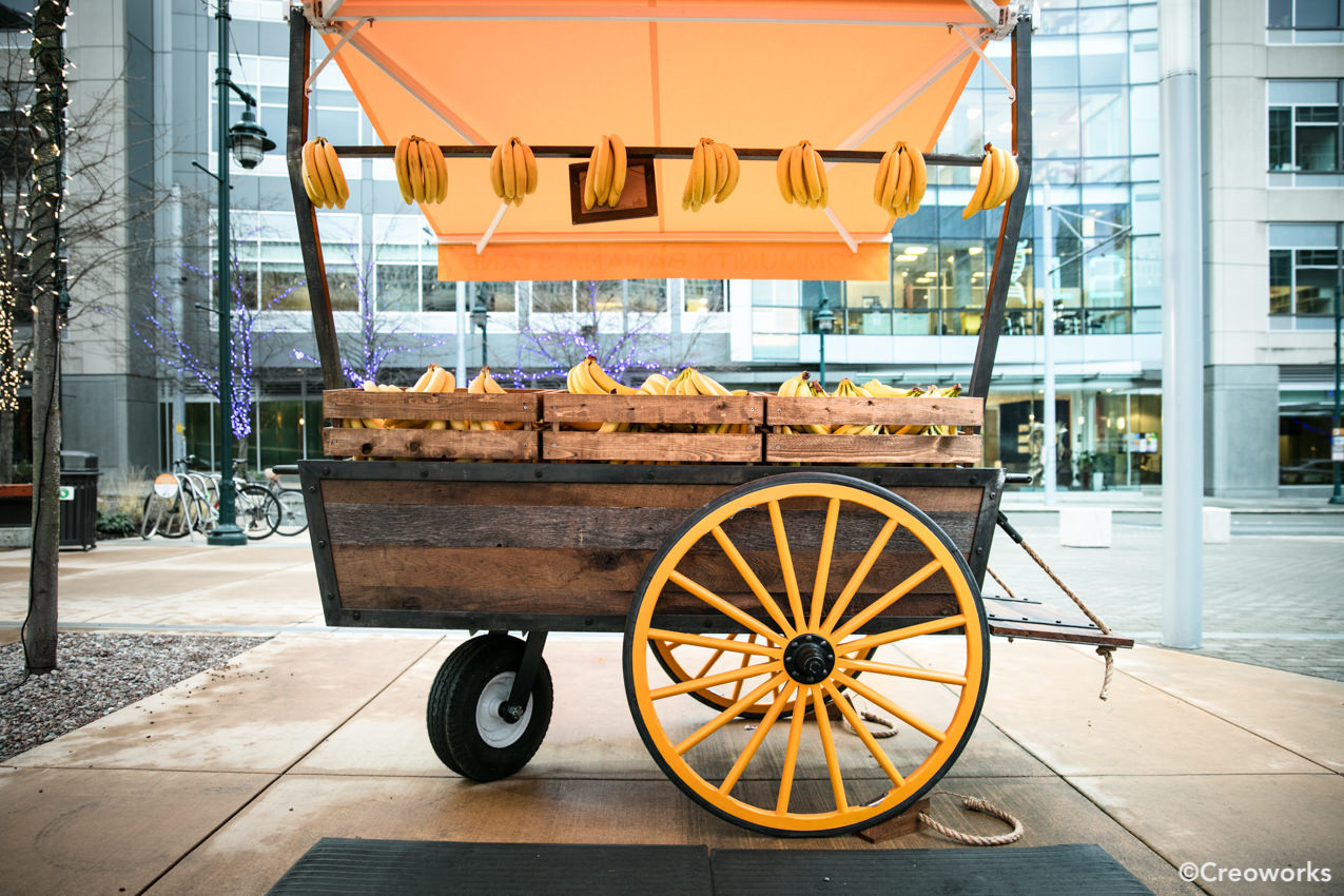 Custom banana stand with wheels