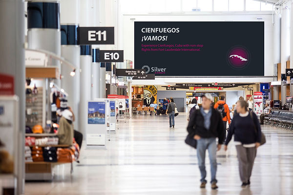 Silver airways billboard ad in airport terminal for cuba Dillon Hearns Graphic Design creation