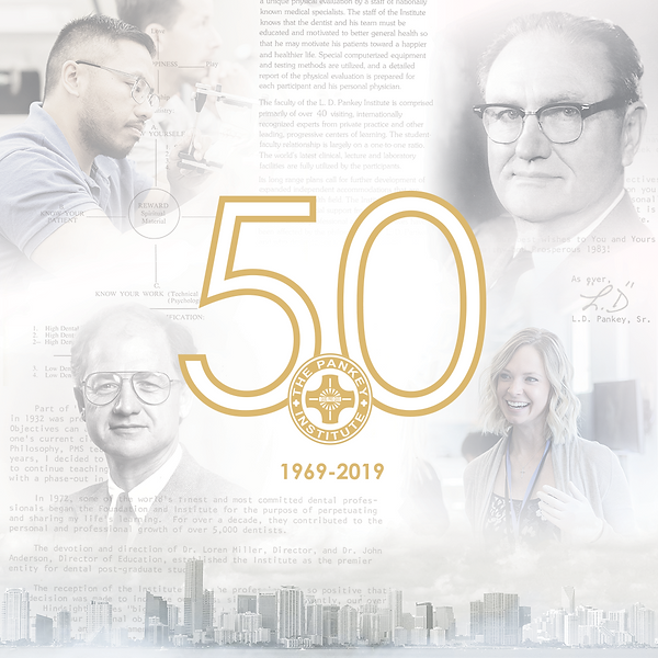 collage of people learning centered around gold 50 logo with miami skyline Dillon Hearns Graphic Design creation