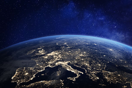 Europe at night viewed from space with c