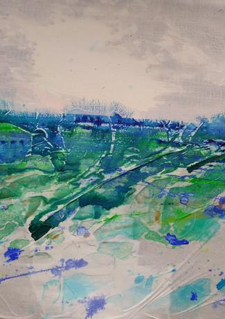 "Karen Smith ""Leaving"" mixed media on canvas 50 x 50 cm £250 inc UK p+p"