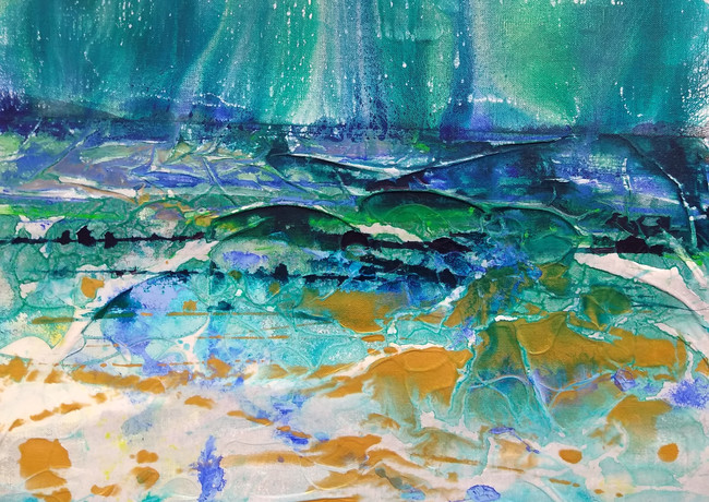 """Light through the trees"" mixed media on canvas 50 x 50 cm £250 inc UK p+p"