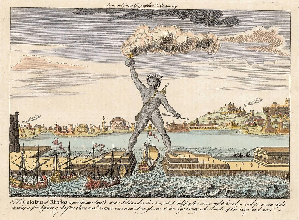 The Colossus of Rhodes, a prodigious brass statue dedicated to the Sun - Engraved for the Geographical Dictionary (Public Domain)