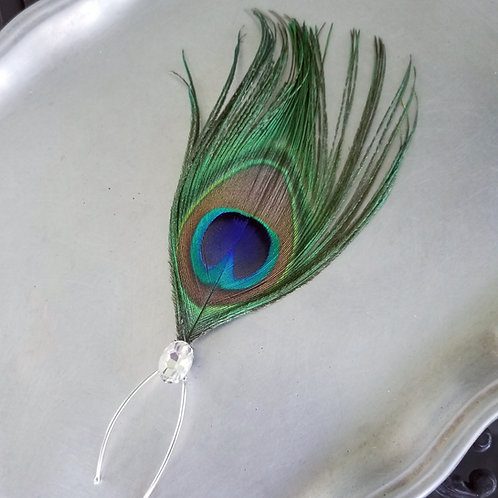 Peacock Feather and Rhinestone Hair Pin