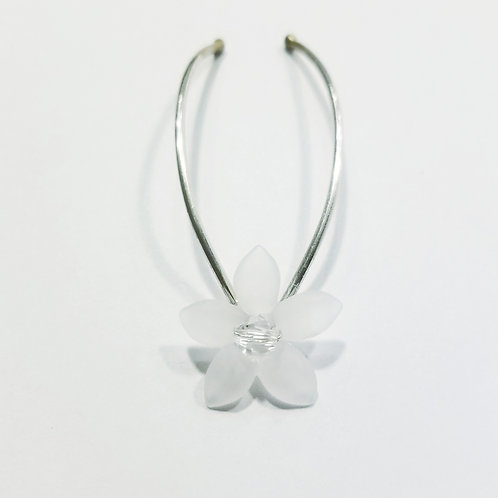 Swarovski Crystal and Lucite Flower Sterling Silver Bridal Hair Pins | STERLING HAIRPINS