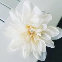Solitaire Pearl and Silk Fower Bridal Hair Pin