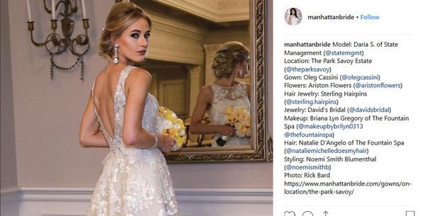 Bride wearling Firework Pearl Bridal Hair Pin_Manhattan