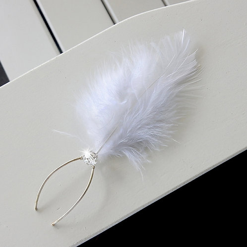 Feather and Swarovski Pearl Sterling Silver Bridal Hair Pins | STERLING HAIRPINS