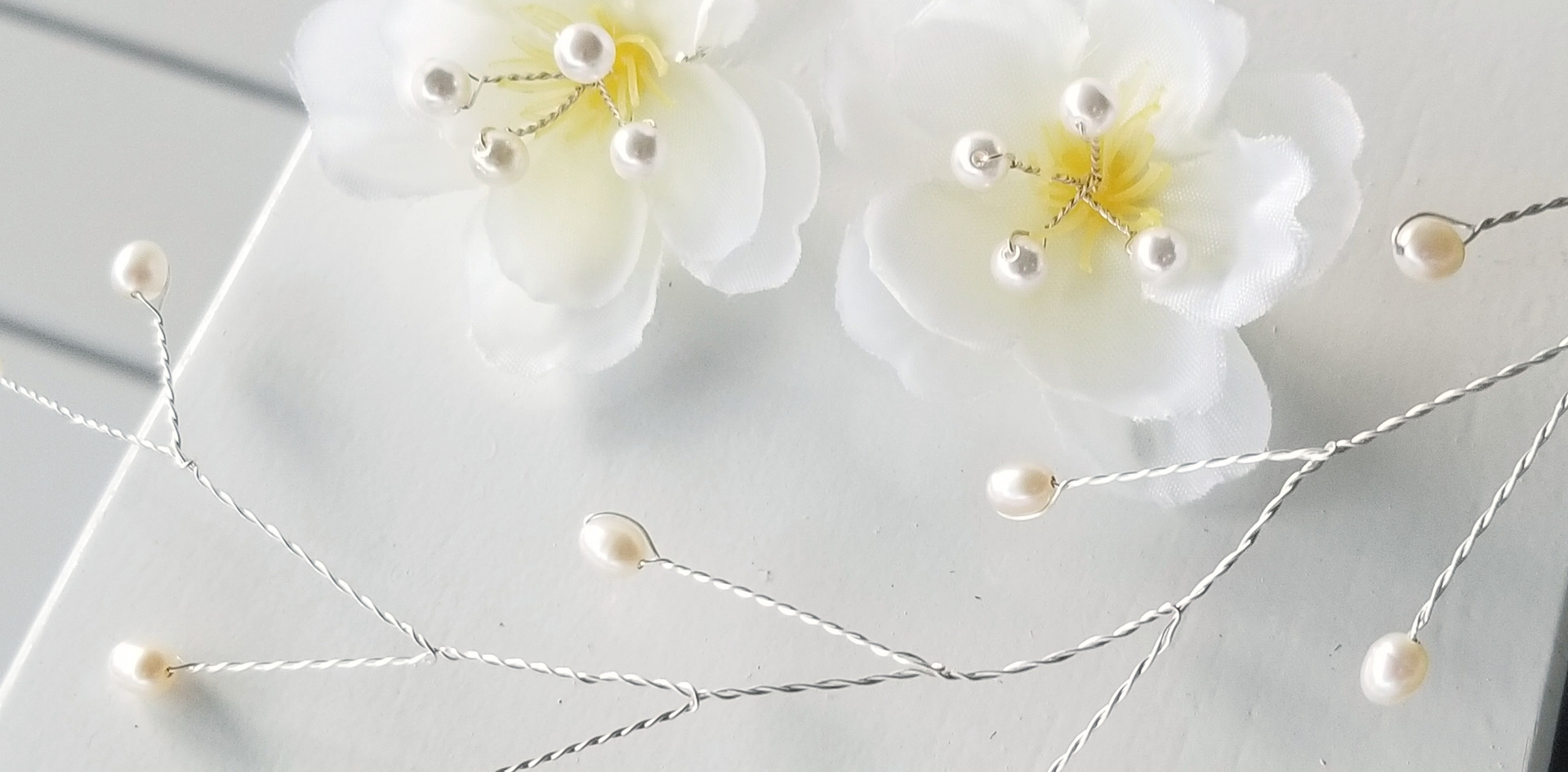 Silk Flower and Freshwater Sterling Silver Hair Vine