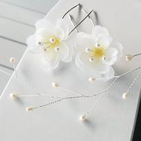 Freshwater Pearl Silk Flower and Freshwater Hair Vine Bridal Hair Pins