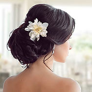 Bride weaing large Silk Flower and Swarovski Pearl Bridal Hair Pin
