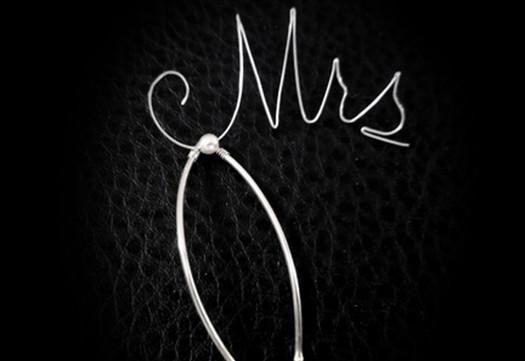 Sterling Silver Monogram Bridal Hair Pin