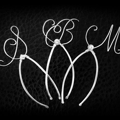 Custom Sterling Silver Monogram Sterling Silver Bridal Hair Pins | STERLING HAIRPINS