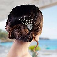 Sand Dollar and Pearl Spray Bridal Hair Pins