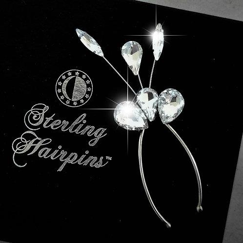 Joy Rhinestone Sterling Silver Bridal Hair Jewels