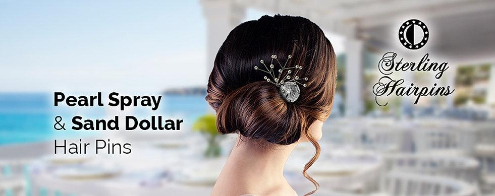 Bridal hair pins pearl and crystal accessories sterling hairpins sand dollar bridal hair pins junglespirit Images