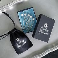 Freshwater Pearl Bridal Hair Pins and Packaging