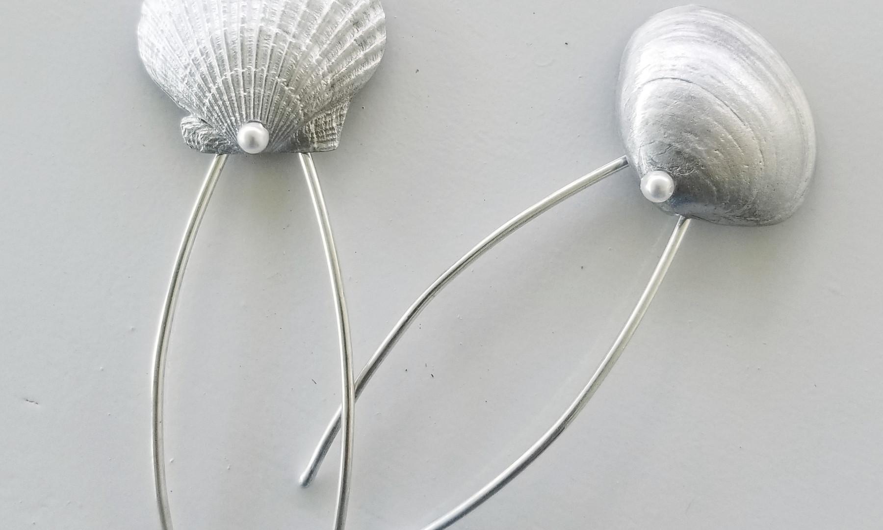 Sterling & Pewter Seashell Bridal Hair
