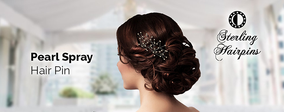Bridal hair pins pearl and crystal accessories sterling hairpins pearl spray bridal hair pins junglespirit Images