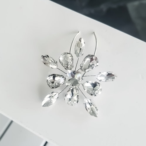 Rhinestone Snowflake and Sterling Silver Bridal Hair Pins