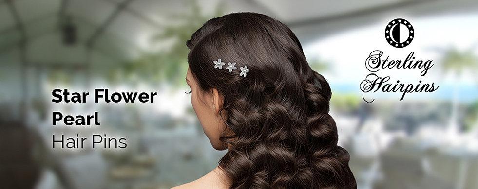 Bridal hair pins pearl and crystal accessories sterling hairpins pearl star flower bridal hair pins junglespirit Images