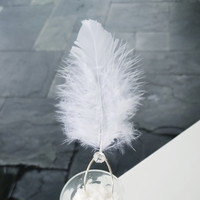 Soft and fluffy white natural feather and Swarovski Crystal Wedding Hair Pins