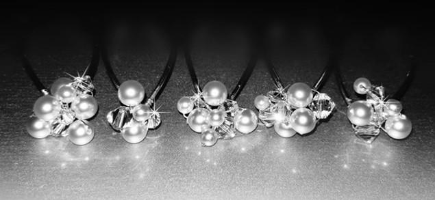Swarovski Crystal and Pearl Cluster Wedding Hair Jewelry