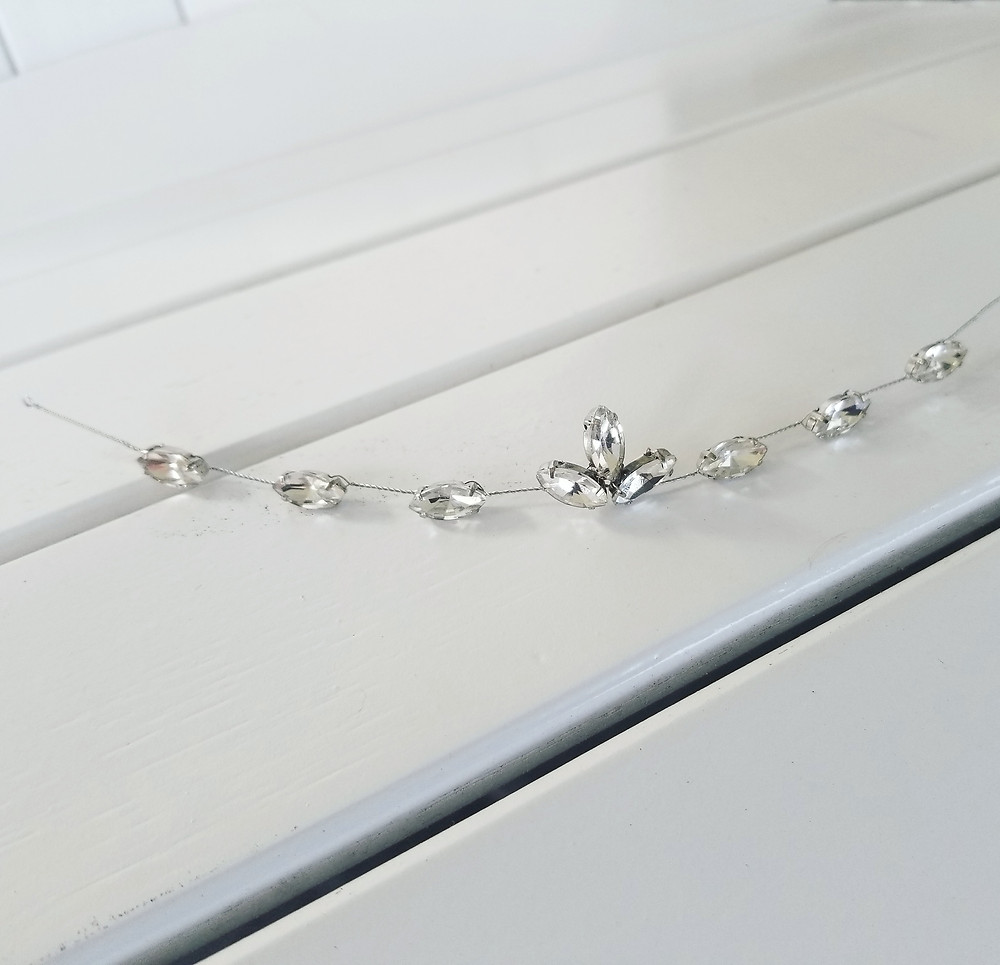 Sparkling Marquis Prong Set Rhinestones and Sterling Silver
