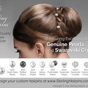 Sterling Silver Pearl and Crystal Bridal Hair Pins
