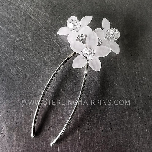 Springtime Swarovski Crystals & Flowers Bridal Hair pin