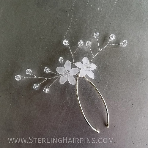 Summertime Swarovski Crystal Spray & Flower Bridal Hair Pin