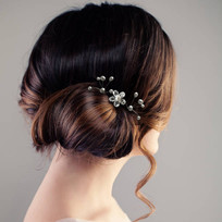 Freshwater Pearl Firework Hair Pins and Swarovski Crystal Flower Bridal Hair Pins