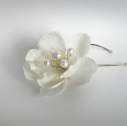 Silk Flower and Freshwater Pearl Bridal Hair Pins