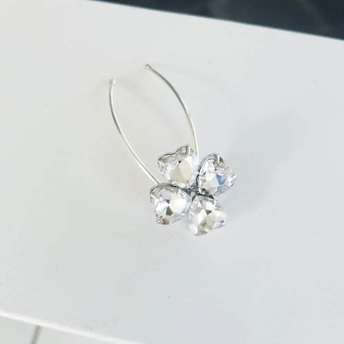 Four Leaf Clover Rhinestone and Sterling Silver Hair Pins