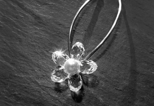 Crystal Flower Hair Pins_Sterling Hairpi