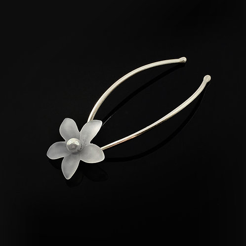 Pearl and Lucite Star Flower Sterling Silver Bridal Hair Pins | STERLING HAIRPINS